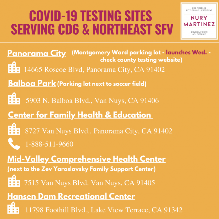 COVID-19 Testing Sites Serving CD 6 & the Northeast San Fernando Valley